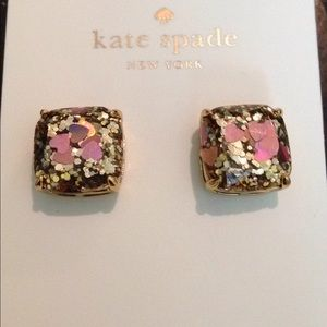 Kate spade glitter hearts earrings